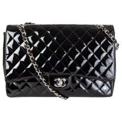 CHANEL black patent leather SINGLE FLAP MAXI Shoulder Bag