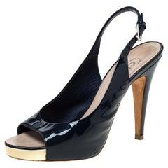 Chanel Black Patent Leather Slingback Platform Sandals Size 38.5