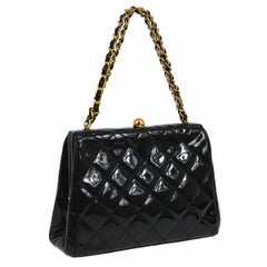 Chanel Black Patent Leather Small Mini Kisslock Shoulder Top Handle Bag