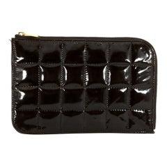 Chanel Black Patent Leather Square Quilt Zipper Wallet
