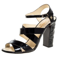 Chanel Black Patent Leather Strappy Camellia Open Toe Sandals Size 39.5