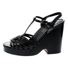 Chanel Black Patent Leather T-Strap CC Logo Wedge Platform Sandals Size 40