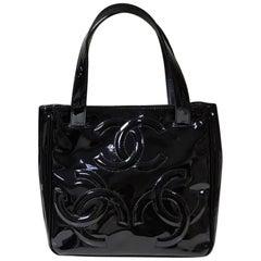 Chanel Black Patent Leather Triple Coco Tote Bag