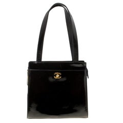Chanel Black Patent Leather Vintage CC Tote