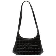 Chanel Black Patent Leather Vintage Chocolate Bar Kisslock Shoulder Bag
