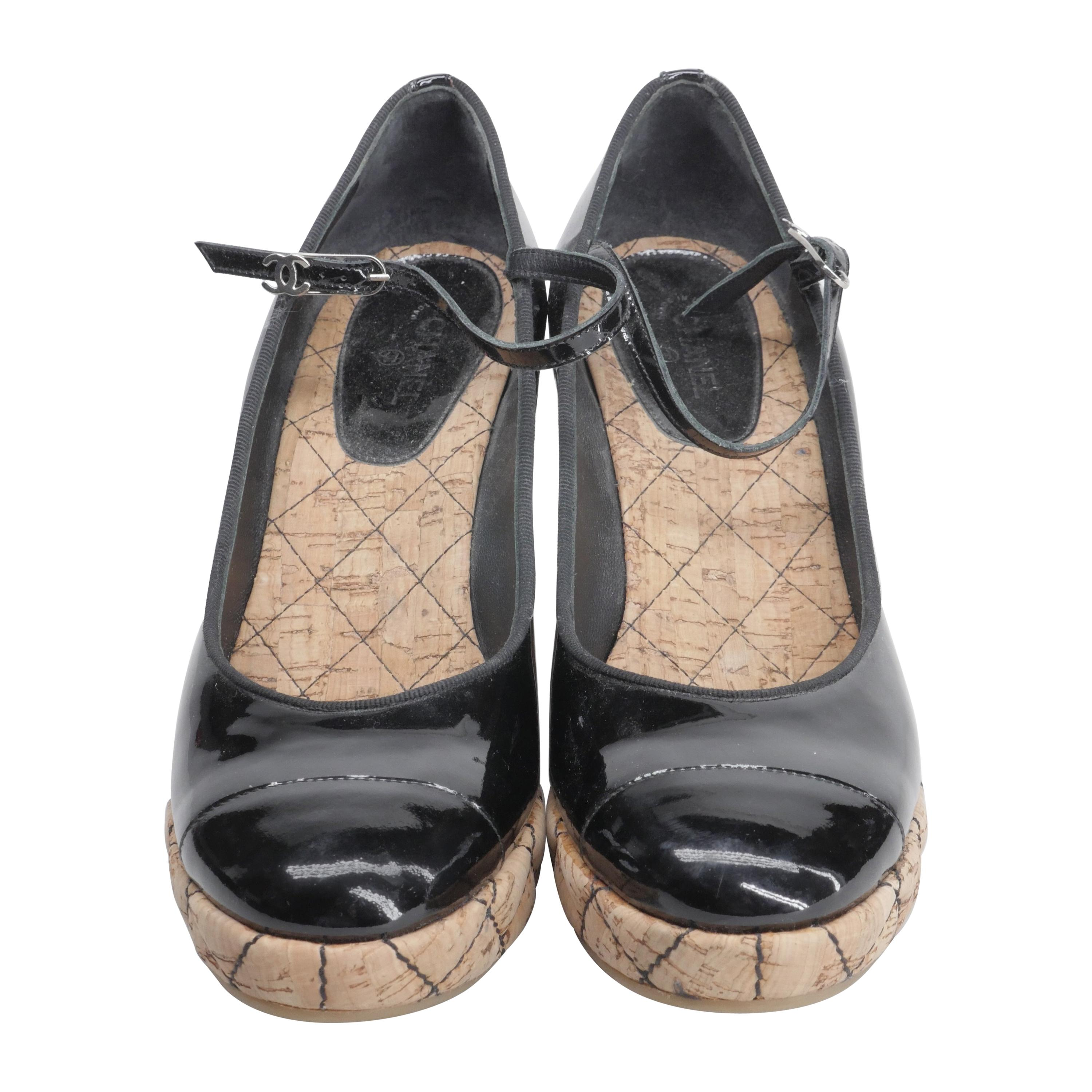 Chanel Black Patent Leather Wedges Size 41