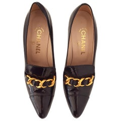 Chanel Black Patent Leather with braided Gold Chain Heels. Size 40 1/2