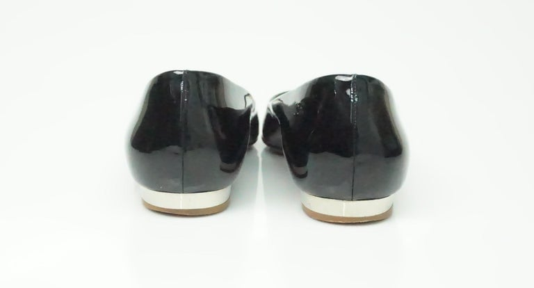 Beige CHANEL Black Patent Peep toe Flat with Silver Heel-39 For Sale