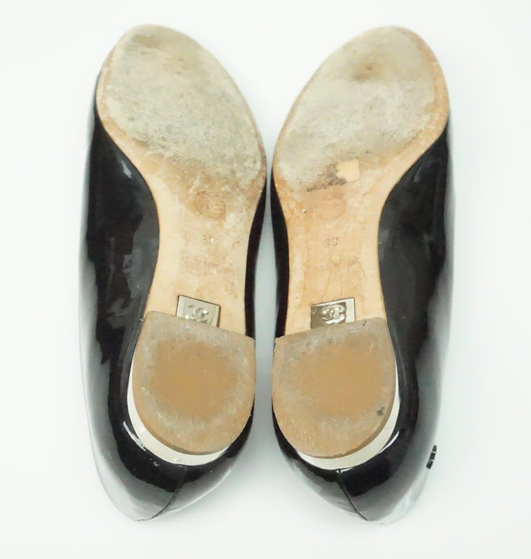 Women's CHANEL Black Patent Peep toe Flat with Silver Heel-39 For Sale