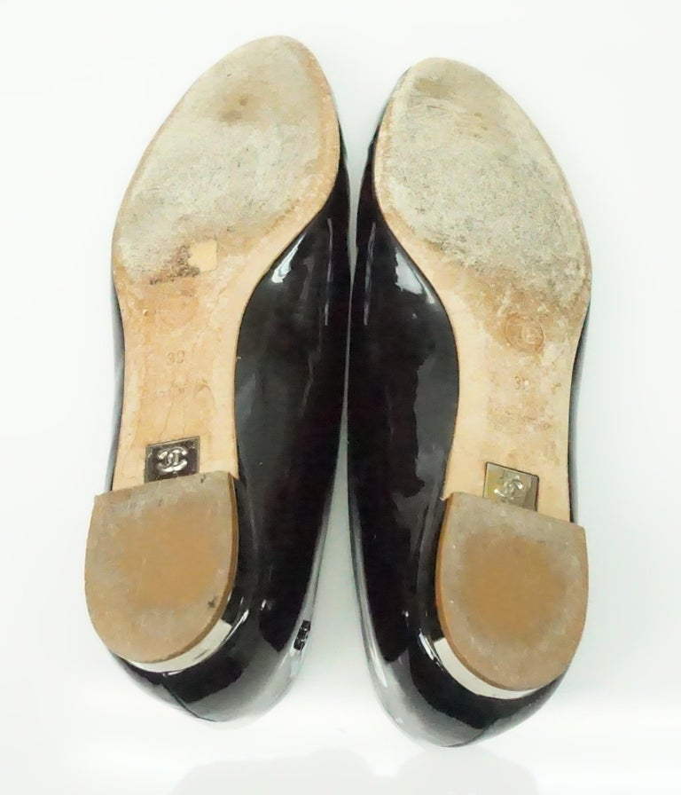 CHANEL Black Patent Peep toe Flat with Silver Heel-39 For Sale 1