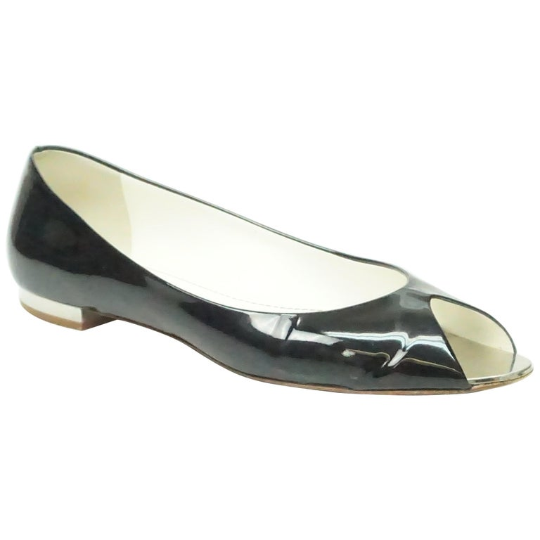 CHANEL Black Patent Peep toe Flat with Silver Heel-39 For Sale