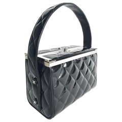 Chanel Black Patent Quilted Box Bag, 1997