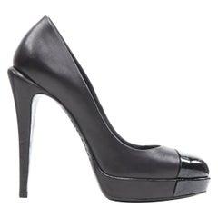 CHANEL black patent toe cap sculpted heel CC logo leather platform pump EU36