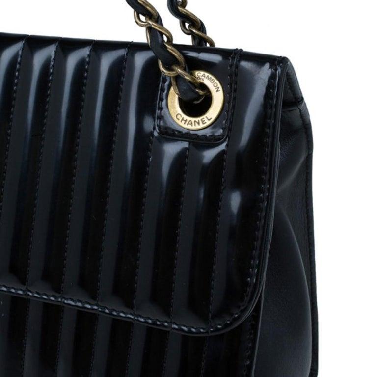 00de02b3f6ba Chanel Black Patent Vertical Stripe Maharajah Flap Bag For Sale at ...