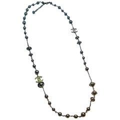Chanel Black Pearl, Gunmetal & Rhinestone Accent Long Necklace, 2018