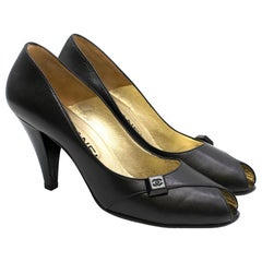 Chanel Black Peep-Toe Leather Pumps SIZE 37.5