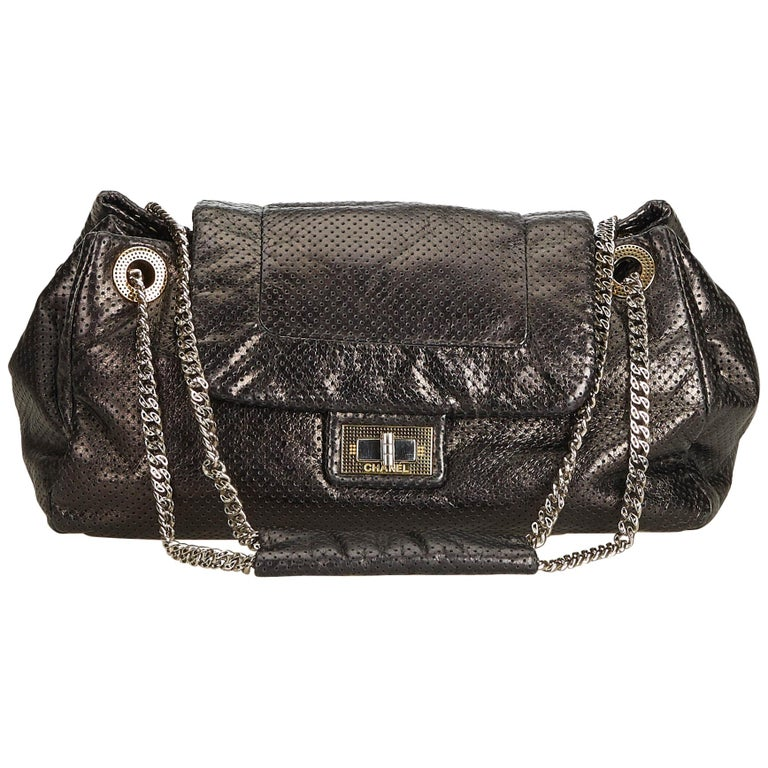 28d03ebc6adafb Chanel Black Perforated Drill Accordion Flap Bag For Sale at 1stdibs