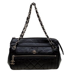 Chanel Black Perforated Leather Camera Bag