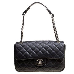 Chanel Black Perforated Leather Flap Shoulder Bag