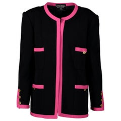 Chanel Black Pink Trim Jacket