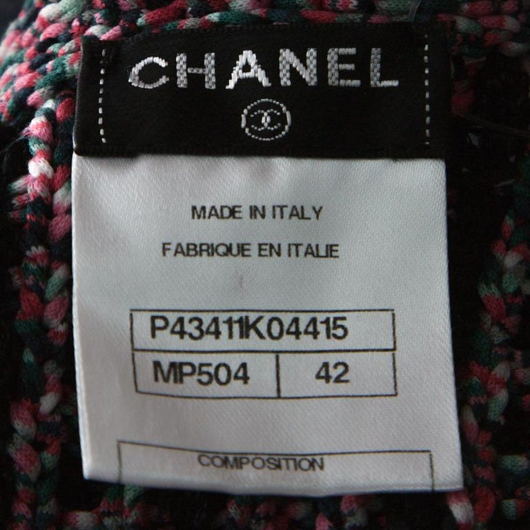 Chanel Black & Pink Tweed Neck Chain Detail Jacket L For Sale 1