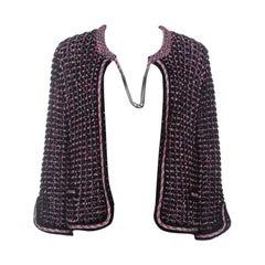 Chanel Black & Pink Tweed Neck Chain Detail Jacket L
