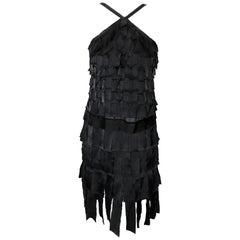 Chanel Black Plaquette Covered Cocktail Dress From 2005 Fall Collection