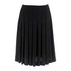 Chanel Black Pleated Chiffon Skirt 38R