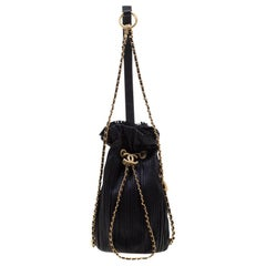 Chanel Black Pleats Leather CC Drawstring Backpack