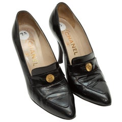 Chanel Black Pointed-Toe Heeled Penny Loafers