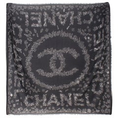 Chanel Black Printed Cashmere Scarf