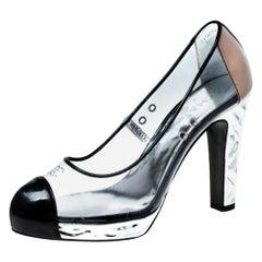 Chanel Black PVC And Black Patent Leather CC Cap Toe Platform Pumps 37.5