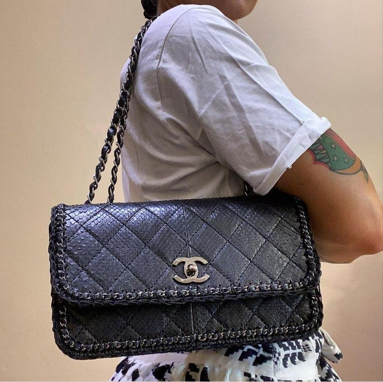 Chanel Black Python Classic Bag For Sale 6