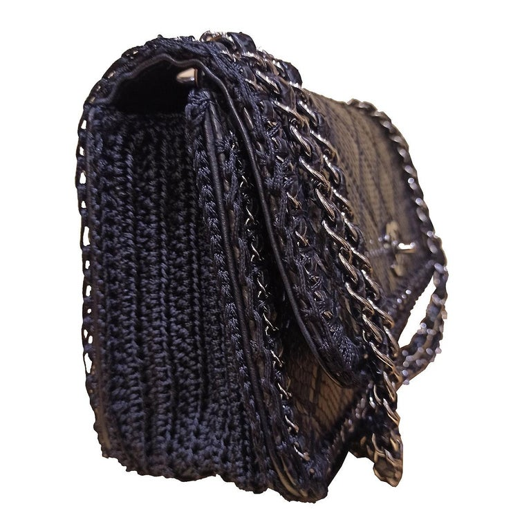 Chanel Black Python Classic Bag In Excellent Condition For Sale In Gazzaniga (BG), IT