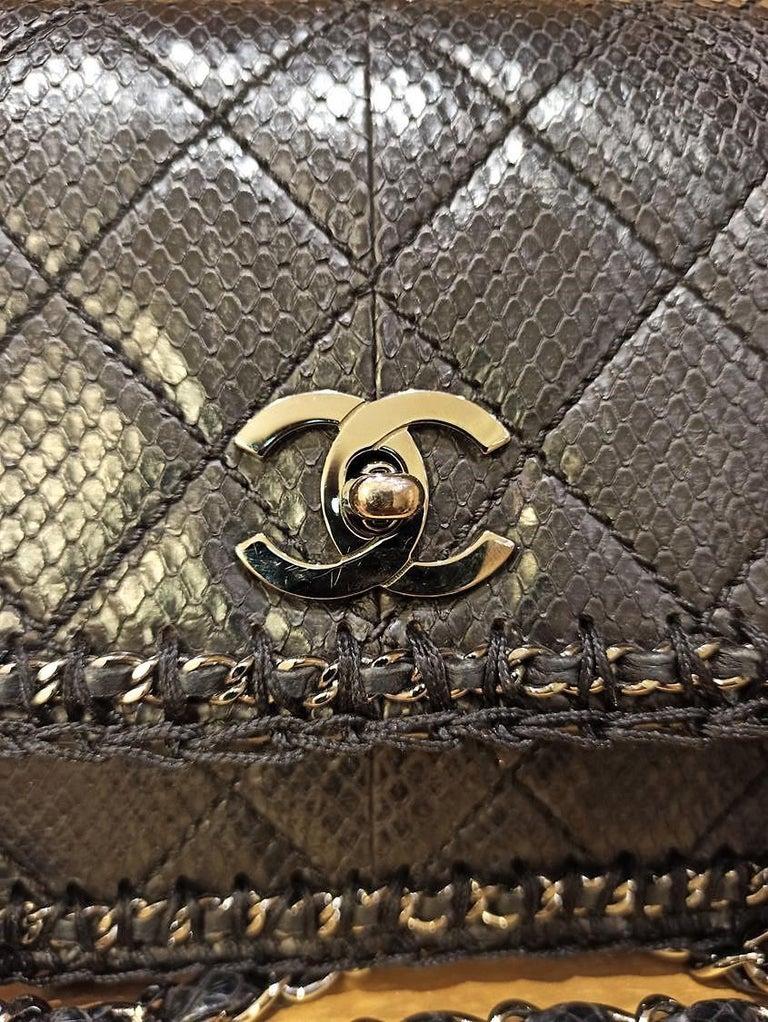 Women's Chanel Black Python Classic Bag For Sale