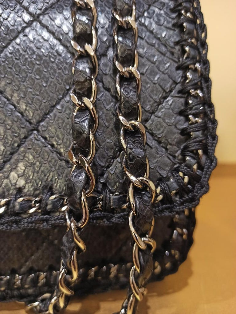 Chanel Black Python Classic Bag For Sale 1