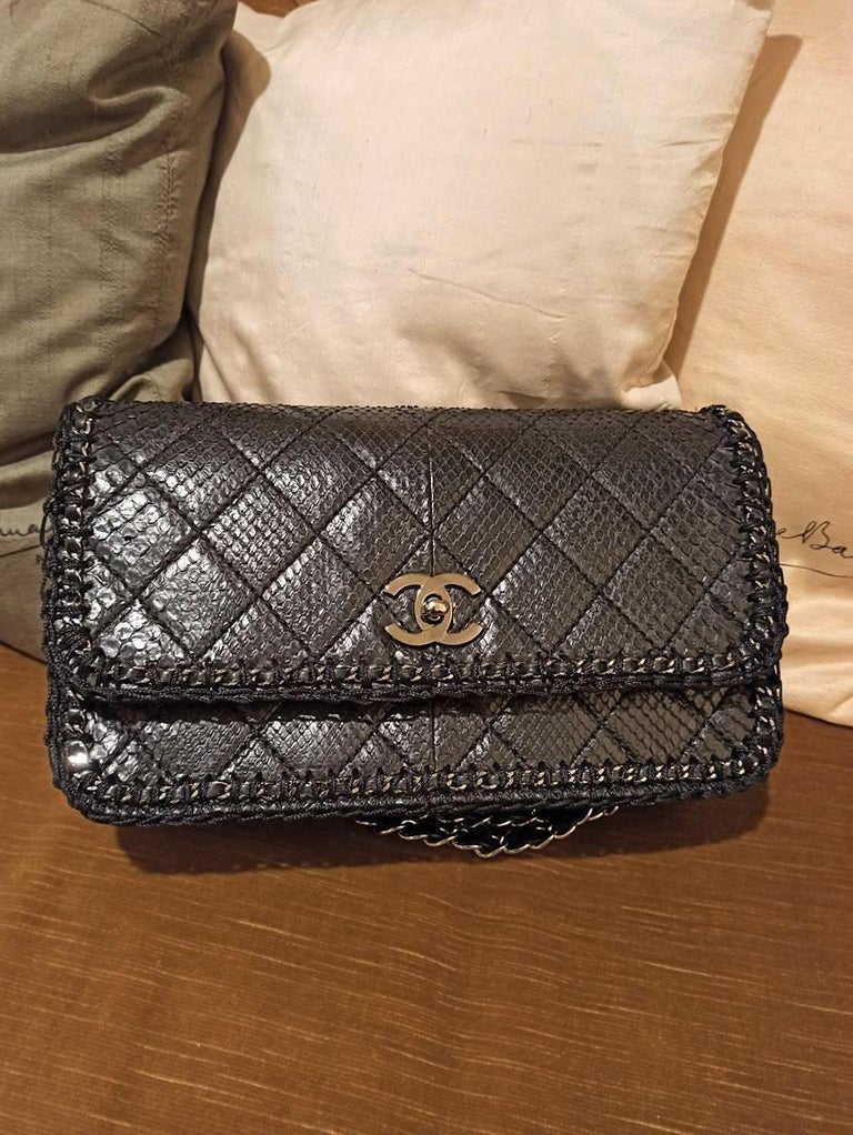 Chanel Black Python Classic Bag For Sale 3
