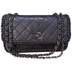 Chanel Black Python Classic Bag