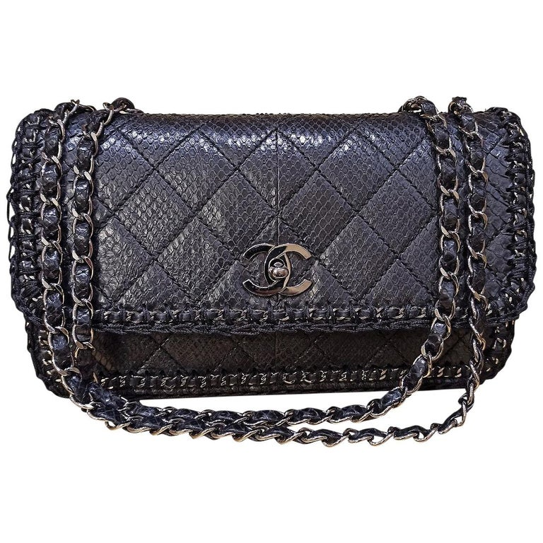 Chanel Black Python Classic Bag For Sale
