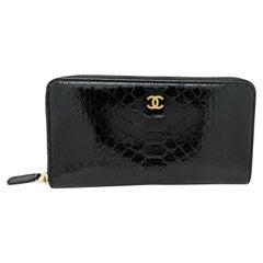 Chanel Black Python Zip Around Wallet