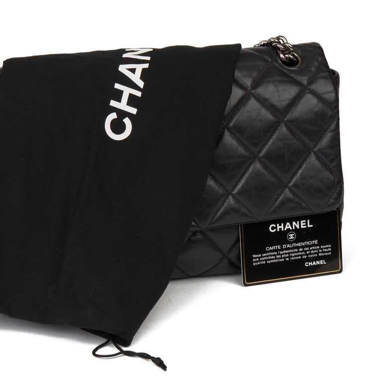 Chanel Black Quilted Aged Calfskin Leather Jumbo Lady Pearly Flap Bag For Sale 7