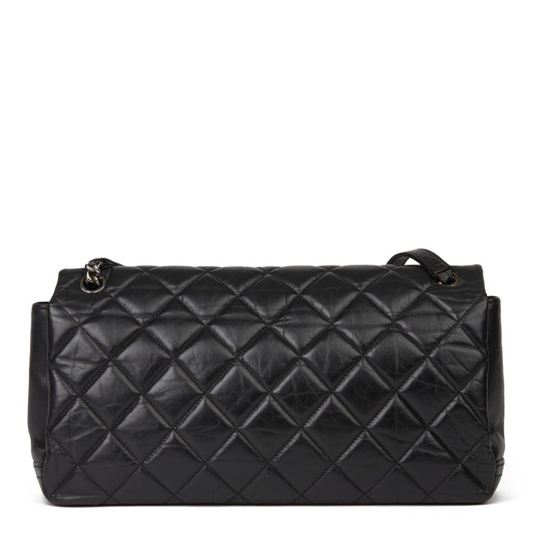 Women's Chanel Black Quilted Aged Calfskin Leather Jumbo Lady Pearly Flap Bag For Sale