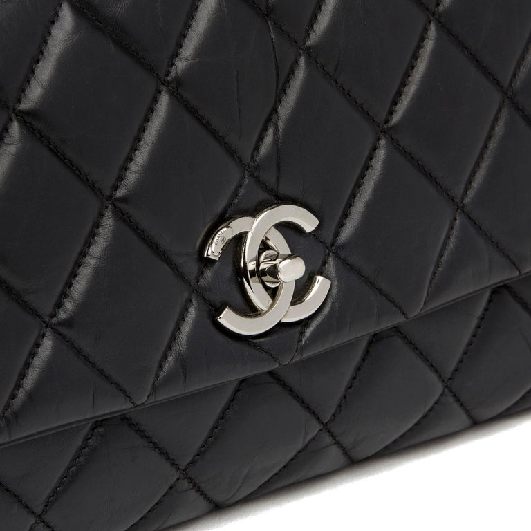 Chanel Black Quilted Aged Calfskin Leather Jumbo Lady Pearly Flap Bag For Sale 2
