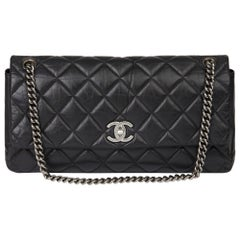 Chanel Black Quilted Aged Calfskin Leather Jumbo Lady Pearly Flap Bag