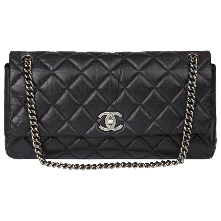 Chanel Black Quilted Aged Calfskin Leather Jumbo Lady Pearly Flap Bag For Sale