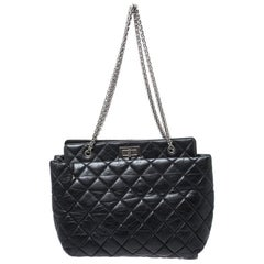 Chanel Black Quilted Aged Calfskin Leather Large Reissue Tote