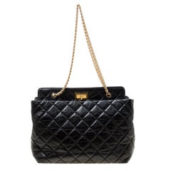 Chanel Black Quilted Aged Leather Reissue Tote