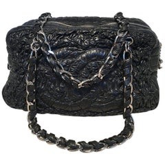 Chanel Black Quilted and Ruched Leather Shoulder Bag Shopping Tote