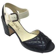 CHANEL BLACK Quilted Ankle Strap Sandal - 36