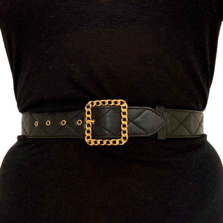 CHANEL Black Quilted Belt 3